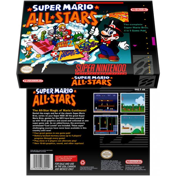 Caixa Box de Cartucho de Super Nintendo Super Mario All-Stars