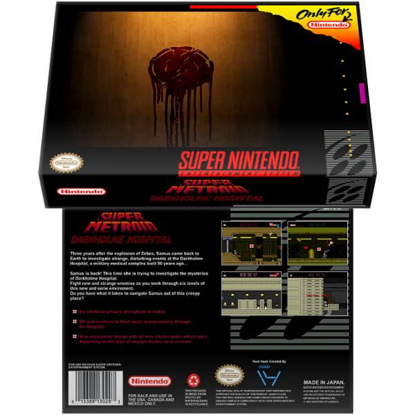 Caixa Box de Cartucho de Super Nintendo Super Metroid Darkholme Hospital