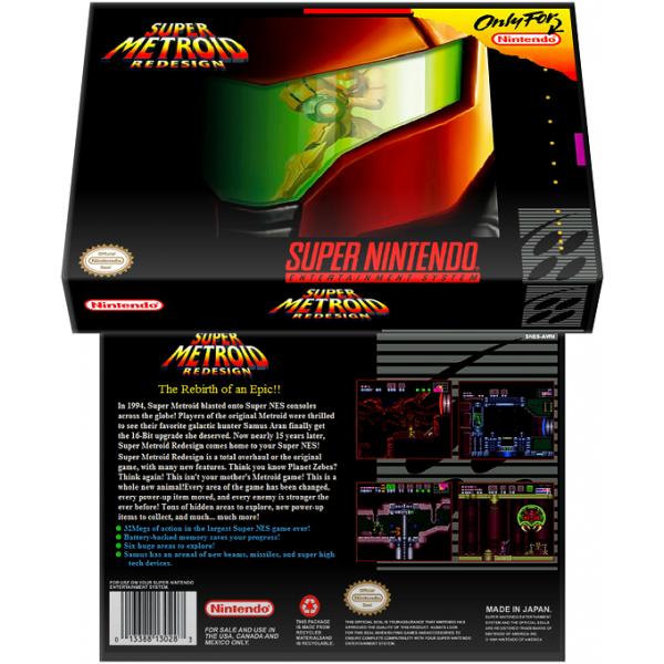 Caixa Box de Cartucho de Super Nintendo Super Metroid Redesign